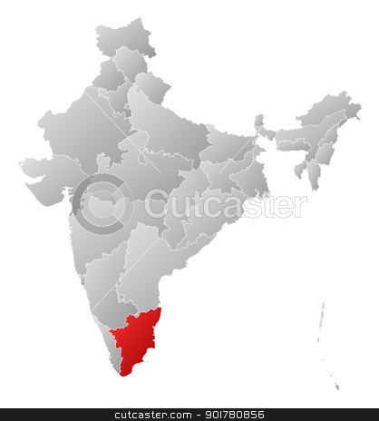 Map of india tamil nadu highlighted stock vector map of india tamil nadu highlighted gumiabroncs Gallery