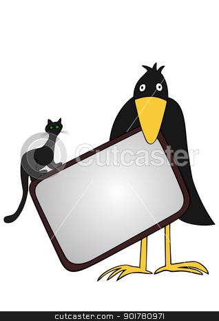 cartoon Halloween background - vector stock vector clipart, Cartoon illustration of the Halloween caption by Siloto