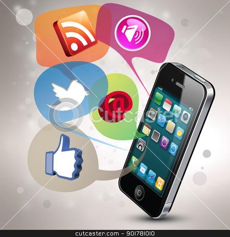 Social Media stock photo, Modern illustration demonstrating social media on a smartphone by HypnoCreative