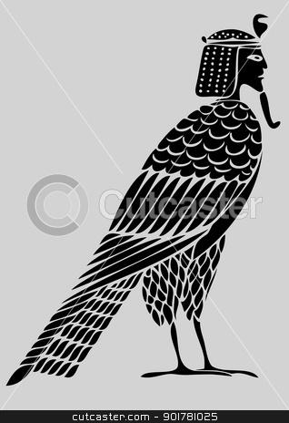 vector Egyptian demon - bird of souls stock vector clipart, Image of the Egyptian demon - Bird of Souls - vector by Siloto