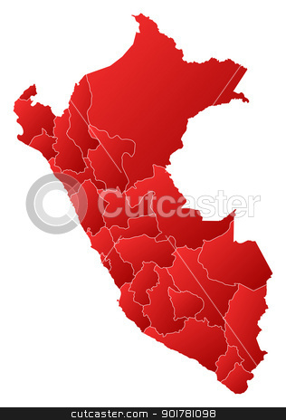 Map of Peru stock vector clipart, Political map of Peru with the several regions. by Schwabenblitz