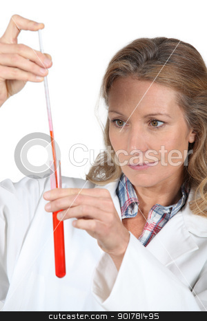 female scientist with a test tube stock photo, female scientist with a test tube by photography33