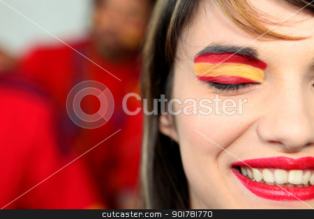 Woman supporting the Spanish football team stock photo, Woman supporting the Spanish football team by photography33