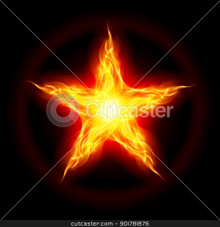 Fire star stock photo, Abstract Fire star. The form of the third. Illustration on black background by dvarg