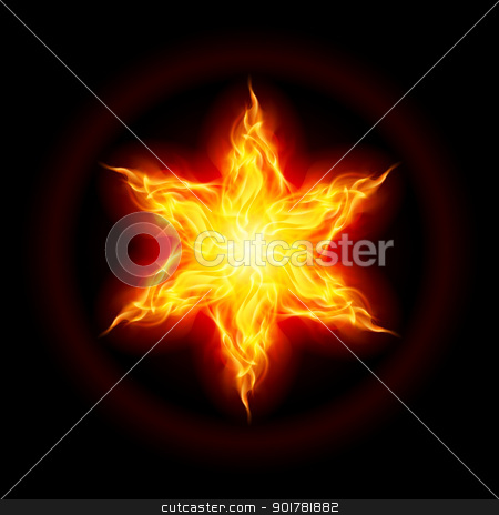 Fire star stock photo, Abstract Fire star. The form of the second. Illustration on black background by dvarg