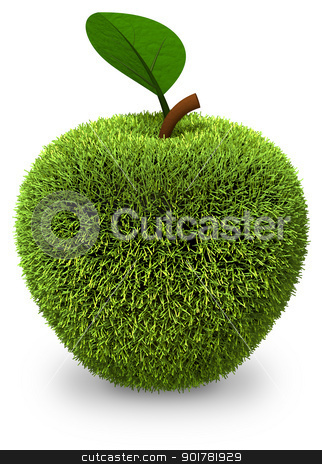 Apple covered with green grass stock photo, Apple covered with green grass isolated on white. 3d render. by serge001