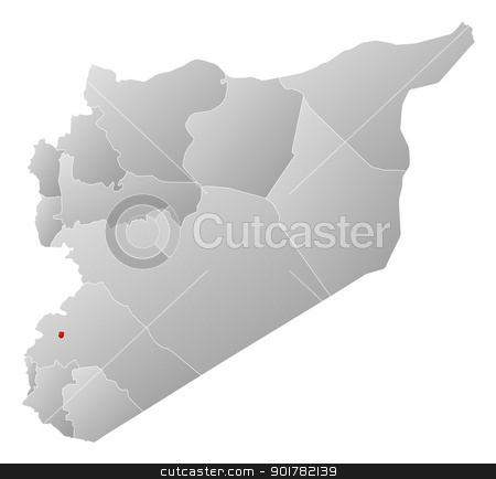 Map of Syria, Damascus highlighted stock vector clipart, Political map of Syria with the several governorates where Damascus is highlighted. by Schwabenblitz