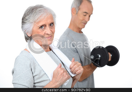Elderly people at the gym stock photo, Elderly people at the gym by photography33