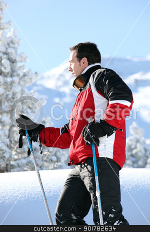 Profile shot of male skier stock photo, Profile shot of male skier by photography33