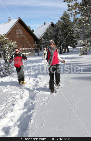 Couple skiing by their chalet stock photo, Couple skiing by their chalet by photography33