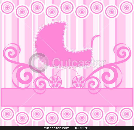 Vector illustration of a cute baby girl stroller on pink striped background stock vector clipart, Vector illustration of a cute baby girl stroller on pink striped background by trina