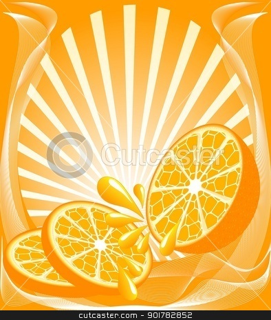 vector illustration of a beautiful orange background with the orange, sun, drops.   stock vector clipart, vector illustration of a beautiful orange background with the orange, sun, drops.  can be used as label for orange juice. by trina