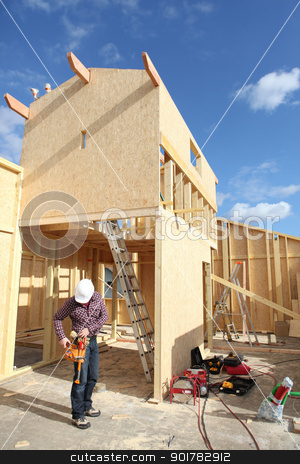 carpenter at work outdoors stock photo, carpenter at work outdoors by photography33