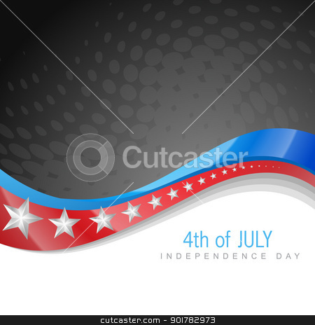 american independence day stock vector clipart, stylish american independence day wave art by pinnacleanimates