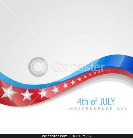 independence day 4th of july stock vector clipart, stylish american independence day wave art by pinnacleanimates