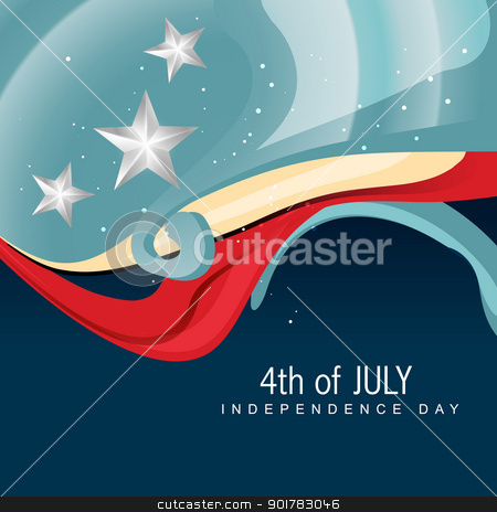 4th of july american independence day stock vector clipart, stylish wave 4th of july vector by pinnacleanimates