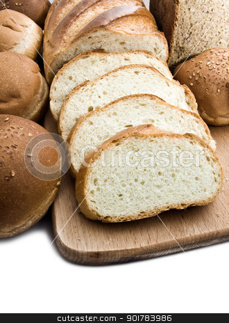 Bread stock photo, Different types of bread isolated on white background by Alexey Popov