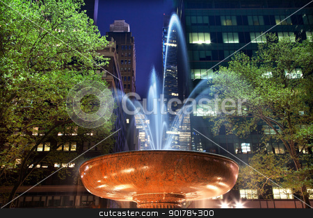 Fountain Bryant Park New York City Night stock photo, Fountain Bryant Park New York City Apartment Buildings Stars Night  by William Perry