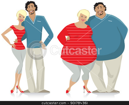 Dieting couple stock vector clipart, Dieting couple from fat to thin by Vanda Grigorovic