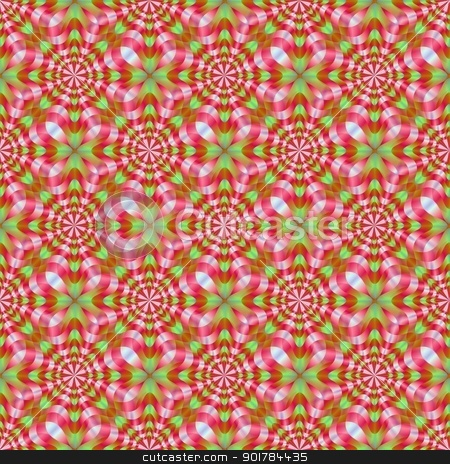Green and Red Whirling Dervish stock photo, Computer generated image with a seamless abstract circular geometric design in red and green. by Colin Forrest