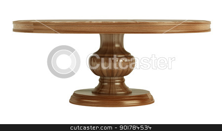 Antique wooden table stock photo, Antique wooden table isolated on white background by Nmorozova