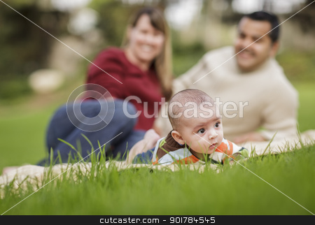 Happy Mixed Race Baby Boy and Parents Playing in Park stock photo, Happy Mixed Race Baby Boy and Parents Playing Outdoors in the Park. by Andy Dean