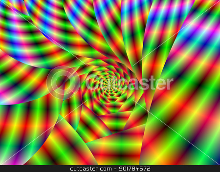 Psychedelic Spiral stock photo, Digital abstract fractal image with a psychedelic spiral design in green, red, blue and yellow. by Colin Forrest