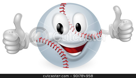 Baseball Ball Mascot stock vector clipart, Illustration of a cute happy baseball ball mascot man smiling and giving a thumbs up by Christos Georghiou