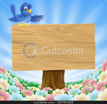 Blue bird wooden nature sign stock vector clipart, Illustration of a bluebird sitting on top of a woodland wood sign gesturing with its wing in a field of wild flowers  by Christos Georghiou