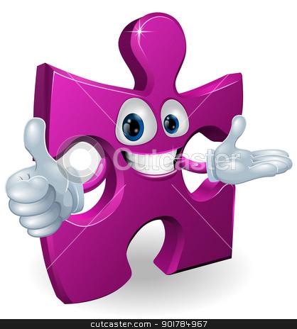 Jigsaw mascot stock vector clipart, Illustration of a cute jigsaw cartoon mascot by Christos Georghiou