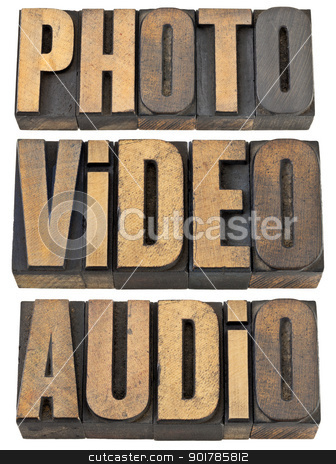 photo, video, audio words in wood type stock photo, photo, video, audio words  - multimedia concept - a collage of isolated text in vintage letterpress wood type by Marek Uliasz