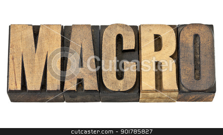 macro word in wood type stock photo, macro word - a very large scale concept - isolated text in vintage letterpress wood type by Marek Uliasz