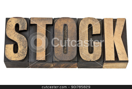 stock word in wood type stock photo, stock word - business concept - isolated text in vintage letterpress wood type by Marek Uliasz