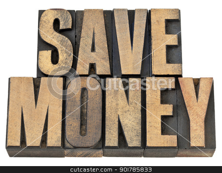 save money in wood type stock photo, save money phrase - financial concept - isolated text in vintage letterpress wood type by Marek Uliasz