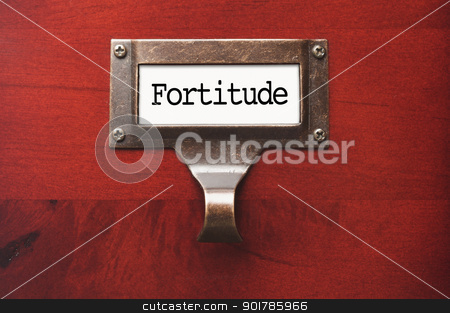 Lustrous Wooden Cabinet with Fortitude File Label stock photo, Lustrous Wooden Cabinet with Fortitude File Label in Dramatic LIght. by Andy Dean