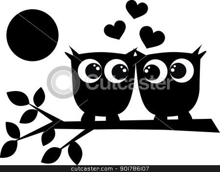 silhouette of two owls in love stock vector clipart, silhouette of two owls in love by Popocorn