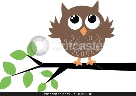 a sweet little brown owl stock vector clipart, a sweet little brown owl by Popocorn