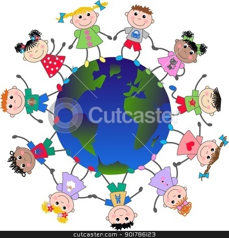 mixed ethnic children stock vector clipart, mixed ethnic children freedom peace by Popocorn