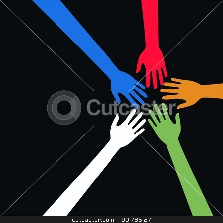 mixed ethnic reaching hands arms stock vector clipart, mixed ethnic reaching hands arms by Popocorn