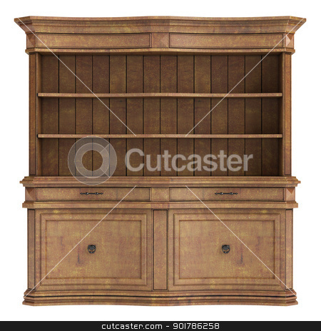 Antique wooden cabinet stock photo, Antique wooden cabinet isolated on white background by Nmorozova