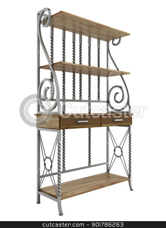 Antique bakers rack stock photo, Antique bakers rack isolated on white background by Nmorozova