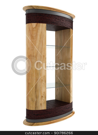 Wooden rack stock photo, Wooden rack with glass shelves isolated on white background by Nmorozova