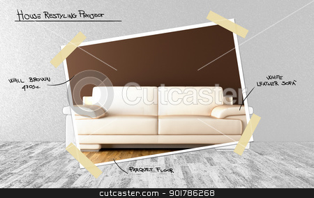 Restyling house stock photo, White modern style sofa in a room with parquet floor to restyling house by Giordano Aita
