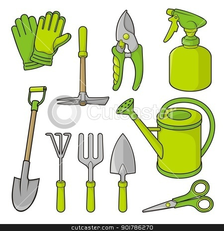 Gardening icons stock vector clipart, A set of gardening tool icons isolated on white background. by fractal.gr