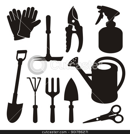 Gardening silhouettes stock vector clipart, A set of gardening tool silhouette icons isolated on white background. by fractal.gr