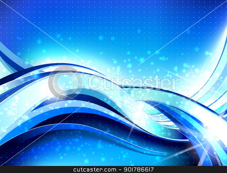 Abstract Wave Flow Composition stock vector clipart, Stylish abstract wave flow background with lots of blurry particles  by Liviu Peicu