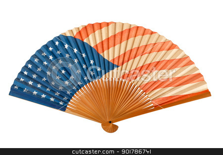 Antique American Flag Folding Fan stock photo, Antique American flag folding fan with 48 stars on blue field and visible brush strokes in red stripes shows some aging, isolated on white by Karen Sarraga