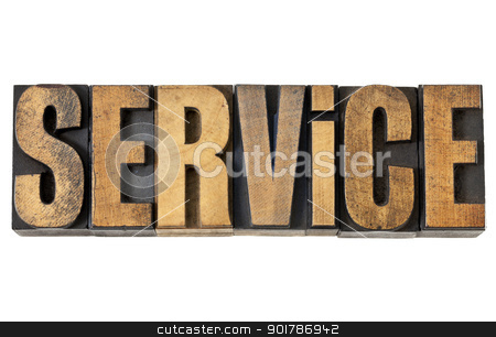 service word in wood type stock photo, service word - isolated text in vintage letterpress wood type by Marek Uliasz