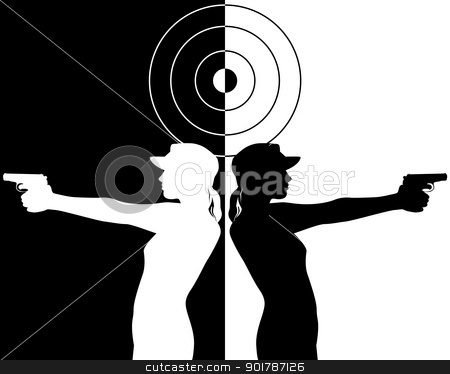 pistol shooter stock vector clipart, black and white silhouettes of a pistol shooter by Yuriy Mayboroda