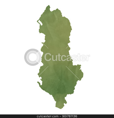 Albania map on green paper stock photo, Albania map in old green paper isolated on white background. by Martin Crowdy
